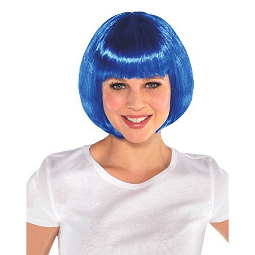 AMSCAN Blue Bob Wig Halloween Costume Accessories, Blue, One Size]()