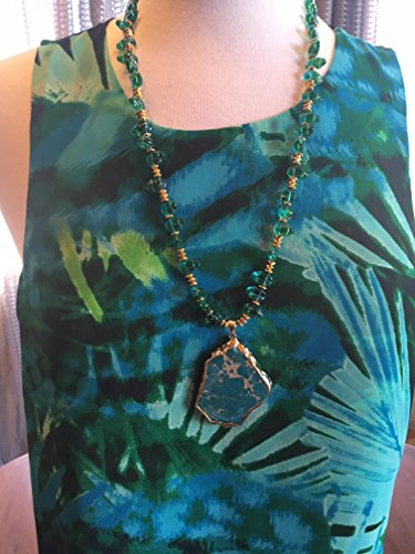 Slab Turquoise Necklace - Custom Couture Large Turquoise leaf tank top with Turquoise slab long necklace
