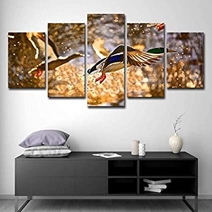 9cf222184906 5 Piece DIY Wall Mural Waterfowl in Flight Canvas Painting Accent Decoration  for Home Living Room