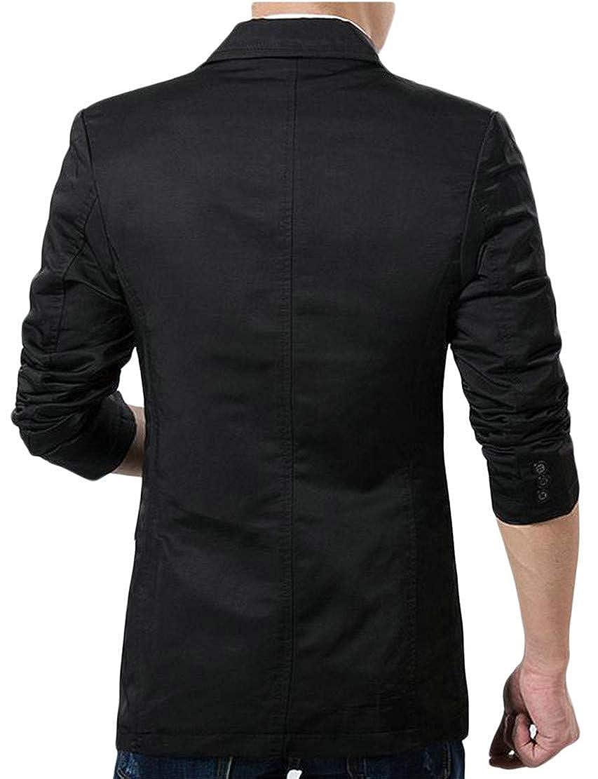 P/&E Mens Lapel Neck One Button Autumn Long Sleeve Coat Blazer Jackets