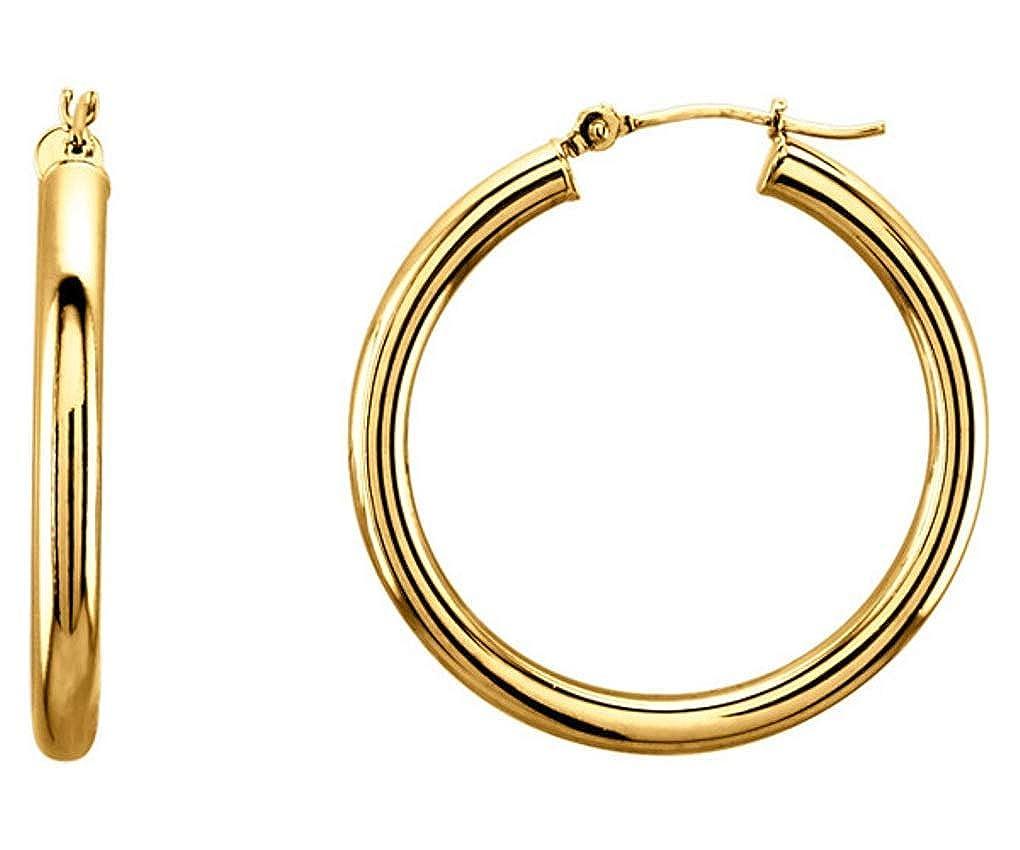 14K Yellow Solid Gold 3mm Hinged 30mm Diameter Hoop Earrings 1-3//16