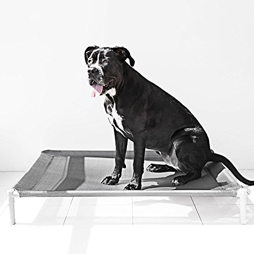 Elevated-Cooling-Dog-Bed-Knitted-Fabric-Pet-Cot-Portable