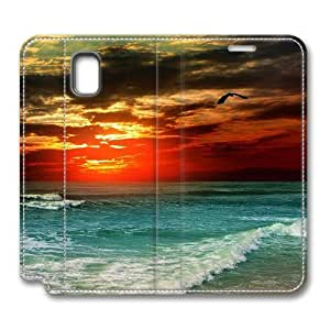 Brain114 Fashion Style Case Design Flip Folio PU Leather Cover Standup Cover Case with Tropical Sunset Pattern Skin for Samsung Galaxy Note 3
