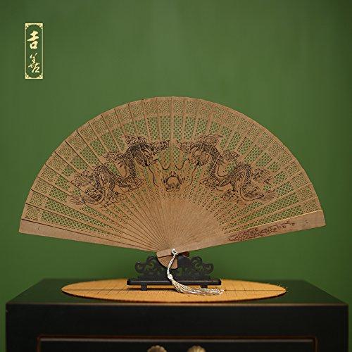 GUYOUYY pieghevole ventola 17,8 cm imitazione legno di sandalo fan Myanmar incenso Gift ventola Hangzhou West Lake Craft ventaglio pieghevole Box 9.2 Inch Burmese Double Dragon Play Beads