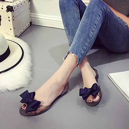 Fheaven Sandalen Voor Dames - Dames Flats Transparante Sandalen Peep-toe Antislip Platte Strik Schoenen Strandschoenen Blauw