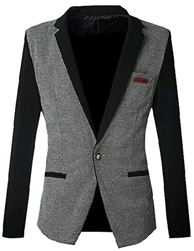 Handsom Mens Leisure Color Blocked Lapel Slim Blazer Suit Jacket Coat GrayUS Small Hot and Fashion (P-40s Base)