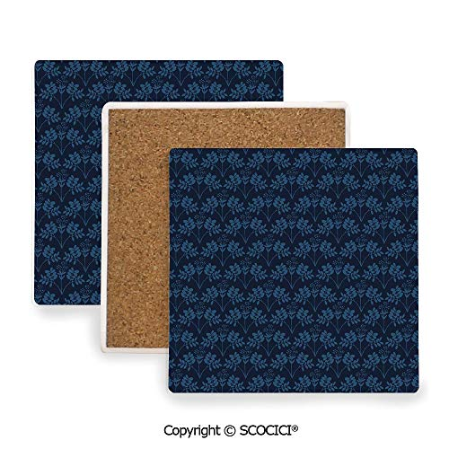 Garden Square Botanic Coasters - Ceramic Coaster With Cork Mat on the back side, Tabletop Protection for Any Table Type, Square coaster,Indigo,Ocean Inspired Garden Botanic Floral Details Leaves,3.9
