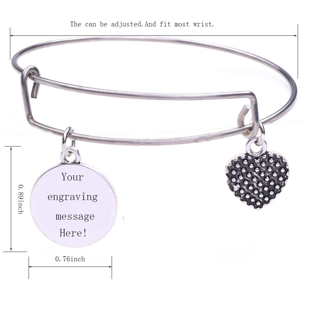 TEAMER Custom Stainless Steel Adjustable Personalized Wire Bangle Coin Heart Shape Charm Bracelet Jewelry Inspirational Birthday Gifts for Women Girls