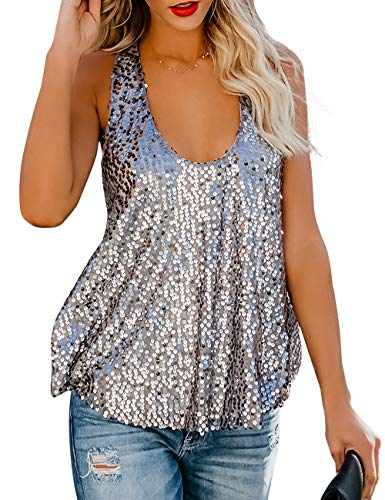 Amiliashp Women's Sexy Sequin Embellished Raceback Sleeveless Metallic Shimmer Party Tank Top Camisole Vest Tops (Silver, XL)