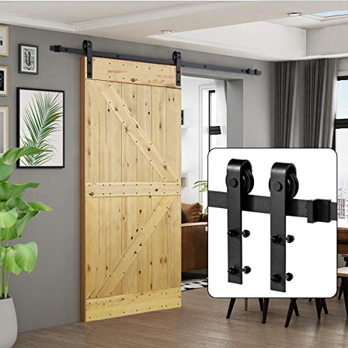 "U-MAX 8 FT Heavy Duty Sturdy Sliding Barn Door Hardware Kit, J Shape Hangers, Super Smoothly and Quietly, Simple and Easy to Install, Fit 42-48"" Wide Door Panel"