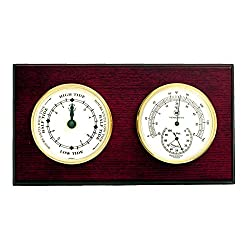Kensington Row Coastal Collection WEATHER STATIONS -CAPE MAY TIDE CLOCK & THERMOMETER/HYGROMETER ON MAHOGANY BASE
