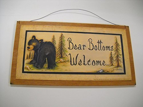 Bear Bottoms Welcome Teddy Country Bathroom outhouse Wooden Wall Art Sign Bath Decor Outhouse