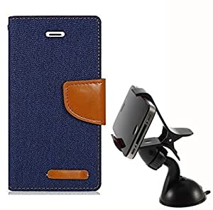 Aart Fancy Wallet Dairy Jeans Flip Case Cover for MotorolaMotoE2 (Black) + Mobile Holder Mount Bracket Holder Stand 360 Degree Rotating (WHITE) by Aart Store