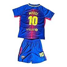 2017/2018 Barcelona Messi Home Kids Jersey & Shorts