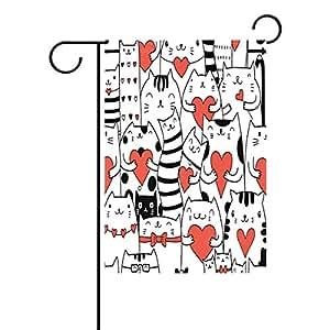 wozo gato con Love corazón bandera de Jardín gato poliéster bandera al aire libre casa fiesta