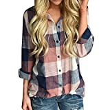 Women Casual Long Sleeve Tunic Shirts Colorful Plaid Button Loose T-Shirt Blouse Cardigan Tops