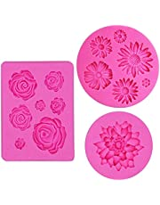 IHUIXINHE Fondant Candy Silicone Molds, 3PCS Flower Daisy Roses Lotus Mold,for Sugarcraft Cake Decoration, Cupcake Topper, Polymer Clay, Soap Wax Making (Flower Daisy Roses)