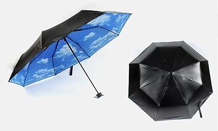 Fun House Sra Parasol Manual Paraguas De Tres Pliegues Doblez Paraguas De Cielo Cielo Azul Y