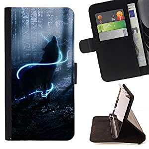 For Samsung ALPHA G850 Howl Wolf Neon Mystical Mist Nature Style PU Leather Case Wallet Flip Stand Flap Closure Cover
