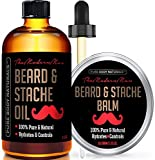 Beard Oil and Beard Balm Kit for Mustache and Beard Care - Tame, Condition and Moisturize with this Premium Grooming Set by Pure Body Naturals, Oil (2 oz.) & Balm