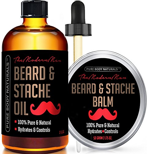 Beard Oil & Beard Balm Mens Gift Set ( 2 oz + 1.75 oz) Mustache Oil Beard Kit All Natural Beard Conditioner ( Beard Oil - Argan & Apricot Oil ) ( Balm - Musk & Amber) by Pure Body Naturals (Beard Oil And Mustache Wax compare prices)