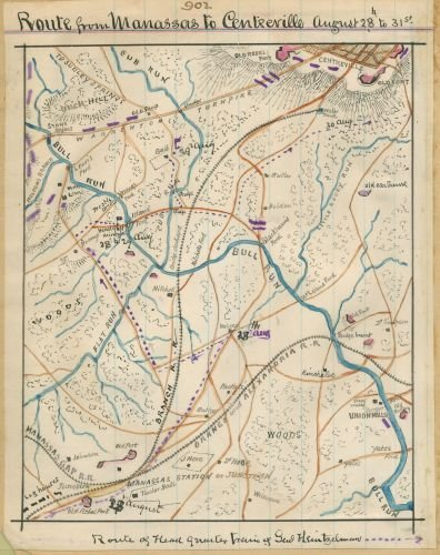 1862 Map Route from Manassas to Centreville, August 28th to 31st. Depicts the path General Samuel Heintzelman took during August 23rd to 31st from Manassas Junction in Prince William County, - Manassas Va In Stores