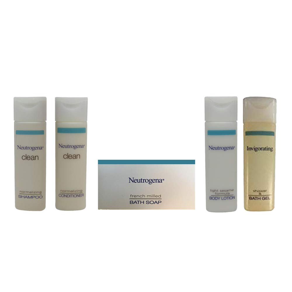 Neutrogena Amenities Travel Set - Conditioner - Lotion - Shower Gel - French Milled Soap and Clean Normalizing Shampoo