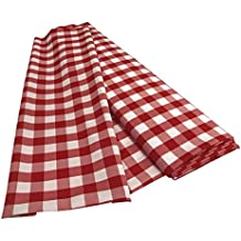 LA Linen 10-Yard Gingham Checkered Flat Fold Bolt, White and Red