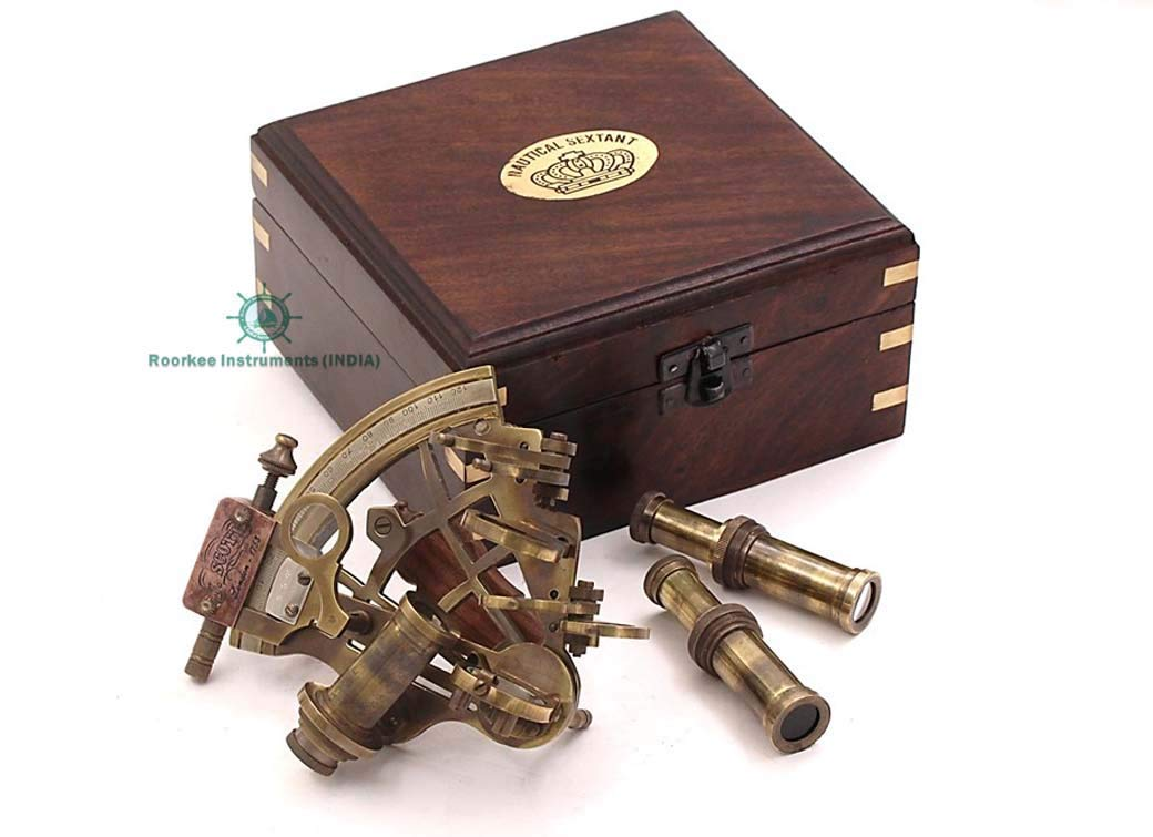 Roorkee Instruments India Sextant for Navigation/Marine Brass Sextant Instrument for Ship/ Celestial & Nautical Sextant with Two Extra Sighting Telescope/Astrolable Sextant Tool with Wooden Box Case