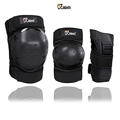 JBM Adult / Child Knee Pads Elbow Pads Wrist Guards 3 In 1 Protective Gear Set For Multi Sports Skateboarding Inline Roller Skating Cycling Biking BMX Bicycle Scooter by Jbm International