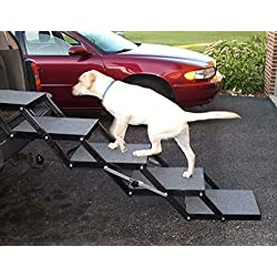 "Pet Loader Dog Stairs - Light 16"" 5 Step - for Cars, Trucks, SUV's, Tall Beds & Other Elevated Surfaces - Safe - Collapsible, Portable, Easy to Store"