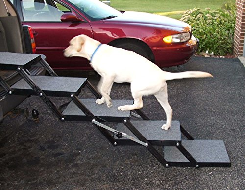 Pet Loader Dog Stairs - Light 16' 5 Step - for Cars, Trucks, SUV's, Tall Beds & Other Elevated Surfaces - Safe - Collapsible, Portable, Easy to Store