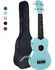POMAIKAI Soprano Wood Ukulele Rainbow Starter Uke Hawaii kids Guitar 21 Inch with Gig Bag for kids Students and Beginners (Light Blue)