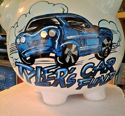Handpainted Personalized Car Fund Car of your Choice Design Piggy Bank by Stymiepie Studios