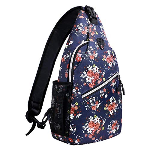MOSISO Rope Sling Backpack (Up to 13 Inch), Multipurpose Crossbody Chest Shoulder Outdoor Travel Hiking Daypack with Printed Pattern, Navy Blue Base Floral