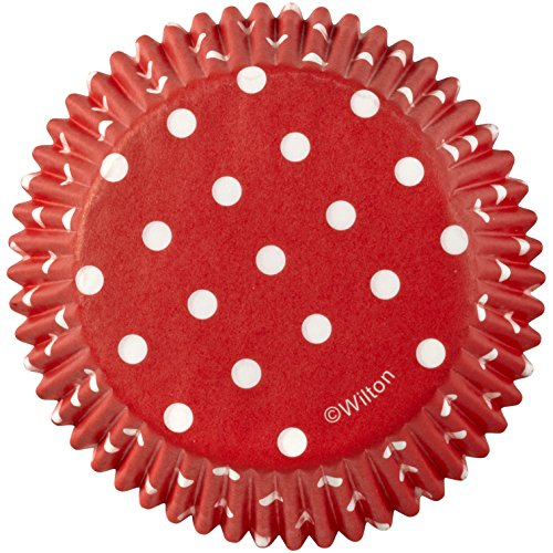 Wilton Baking Cups Standard Dots Red 75 Piece