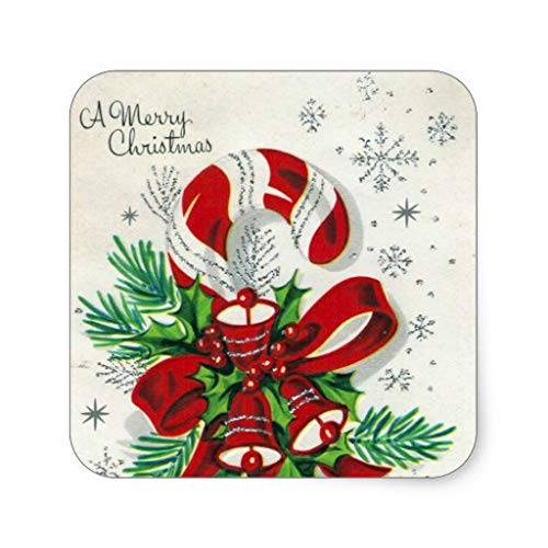 - Vintage Retro Christmas Candy Cane Christmas Label Stickers Xmas Gift Tag Stickers Labels