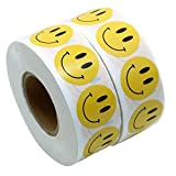 HANANei Natural Kraft Smile Stickers Appreciation Labels 1Roll 100 Pcs Adhesive Sticker, Perfect to Encourage Kids