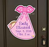 Custom Baby Girl Sign, New Baby Door Hanger Announcement, Personalized Keepsake, Stork Newborn Bundle Greeting