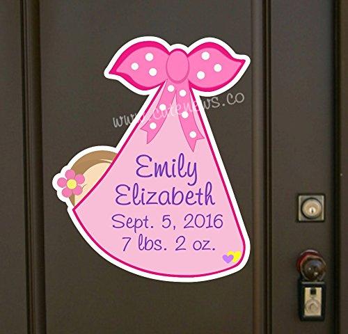 Custom Baby Girl Sign, New Baby Door Hanger Announcement, Personalized Keepsake, Stork Newborn Bundle Greeting by Cute News