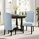 Merax Fabric Accent Chair Dining Room Chair with Solid Wood Legs, Set of 2 (Light Blue) Review