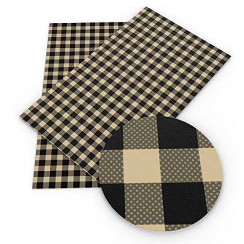 1Pcs 8x13Inch Plaid Leather Fabric-Square Leather Fabric-Check Leather Sheets-Faux Synthetic Leather with Small Square-Synthetic Leather Fabric for Wallpaper Coverings (Style 3)