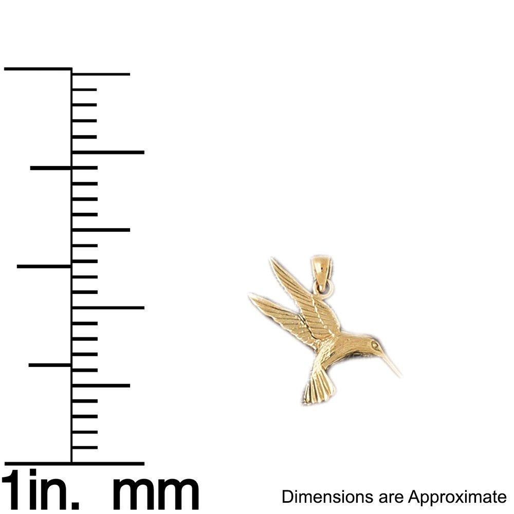 14k Yellow Gold Hummingbird Pendant 10mm x 9mm