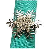 Snowflake Napkin Rings Set Silver Rhinestone for Christmas Holiday Wedding Banquet Dinner Decor Favor (D, 12)