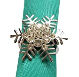 Snowflake Napkin Rings Set of 6 for Christmas, Holidays, Dinners, Parties, Everyday Use, Silver (Silver Crystal, 6)