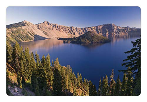 - Ambesonne Lake Forest Pet Mat for Food and Water, Crater Lake Volcano Oregon American Scenery, Rectangle Non-Slip Rubber Mat for Dogs and Cats, Dark Khaki Pale Peach Violet Blue Azure Blue