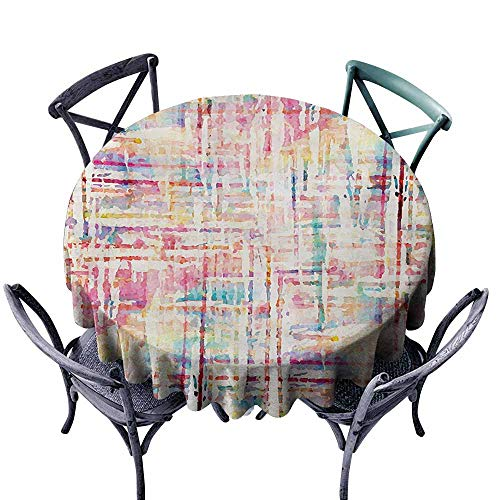 (VIVIDX Round Outdoor Tablecloth,Grunge,Abstract Grunge Paint with Manifold Complicated Mixed Figures and Lines Artsy Print,Table Cover for Home Restaurant,70 INCH,Multicolor)