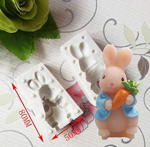 1 piece Cake Mold cartoon rabbit bunny 3D Silicone Mould Chocolate Cake Baking mold Icing Wedding Decoration Romantic Daisy Fondant Tool ()