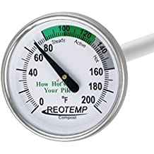 """REOTEMP Backyard Compost Thermometer - 20"""" Stem, with Composting Instructions (Fahrenheit)"""