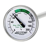REOTEMP Backyard Compost Thermometer - 20'' Stem, with Composting Instructions (0-200 Fahrenheit)